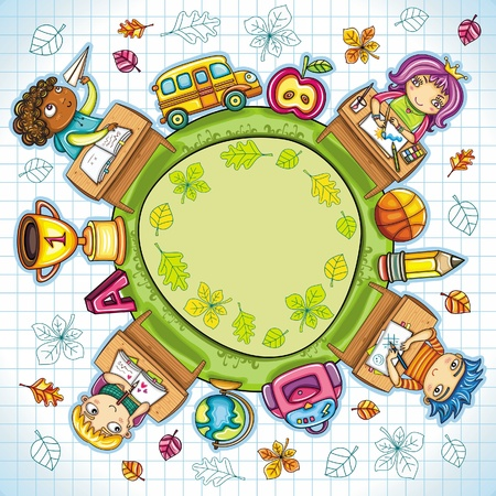 Colorful round composition, with cute schoolchildren and school design elements. with space for your text.  Vector