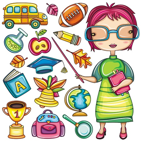 Cute cartoon teacher and school doodle icons  Illustration