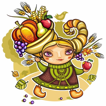Happy cute girl wearing Cornucopia hat full of colorful fruits and vegetables, celebrating harvest festival in the forest.  Vector