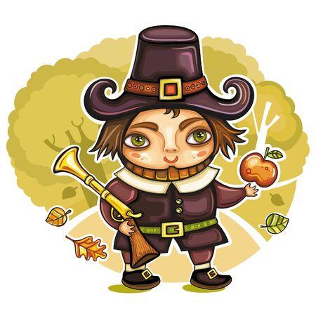 blunderbuss: Thanksgiving happy cartoon pilgrim man with blunderbuss. Thanksgiving series 2  Illustration
