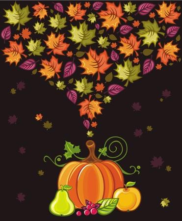 Dise�o de acci�n de gracias: coloridas hojas volando alrededor de calabaza, pera, manzana bayas. Vectores