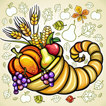 Thanksgiving theme: Harvest cornucopia  Vector