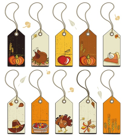 Thanksgiving Collection of tags. Vector