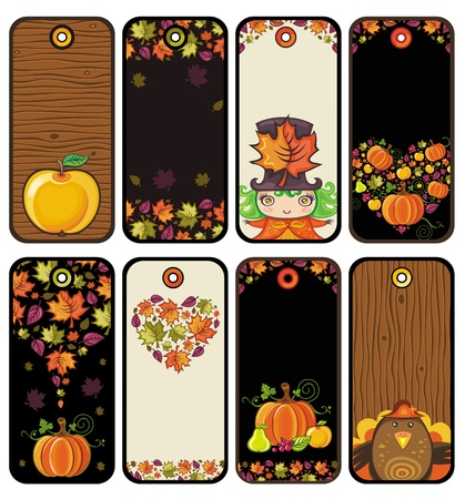 Thanksgiving set of tags in brown colors: pumpkin, turkey, leafs, apple, girl, heart, wood texture  Stock Vector - 10919634