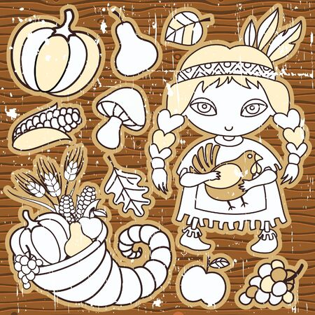 Thanksgiving elements on the wooden background. Grunge. Native girl with turkey in her hands Cornucopia, vegetables, fruits.  Illustration