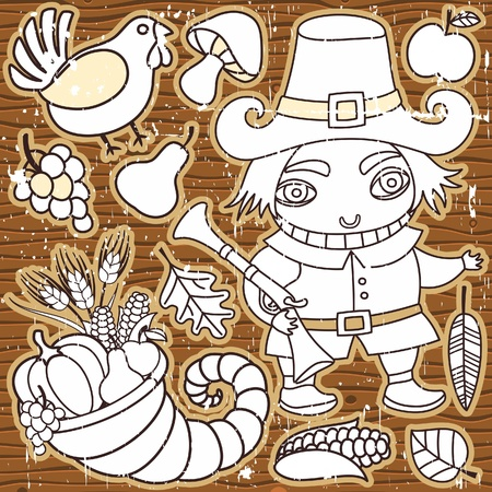 Grunge Thanksgiving elements on the wooden background. Pilgrim boy, turkey, cornucopia, vegetables, fruits and autumn leaves Thanksgiving series  Vector