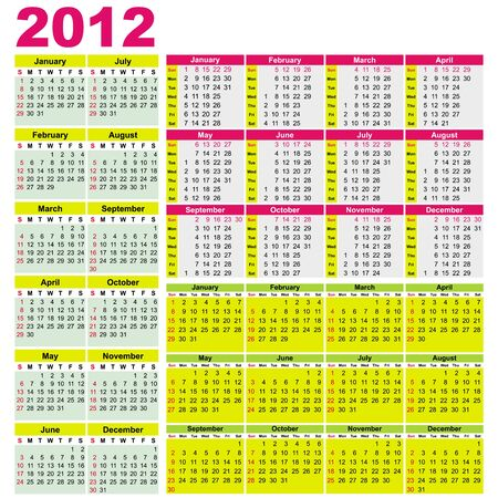 Big set of 2012 calendars. Different types (Starts Sunday)With space for your text Vector