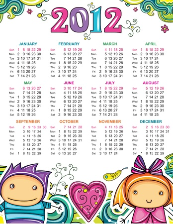 Calendar for 2012 with flowers and children Stock Vector - 10919608