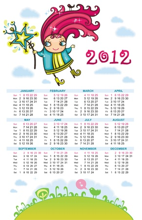 Fairy calendar 2012 Stock Vector - 10919611