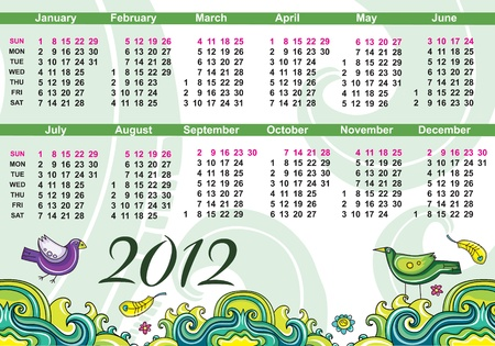 Colorful calendar for 2012  Vector