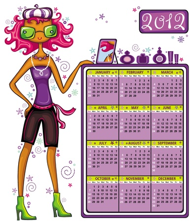 perfum: 2012 calendar: Fashion shopping girl, showing message bord with perfumes. Illustration