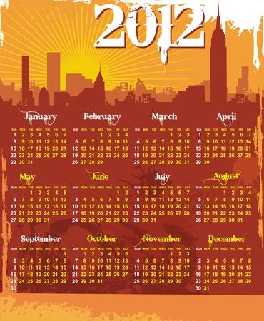 grunge urban calendar 2012  Stock Vector - 10919616