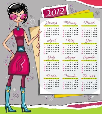 2012 calendar with fashion girl Stock Vector - 11023900