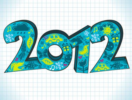 Colorful 2012 New Years Letters - year of Dragon. Can be used for flyers, banners, cards etc. Vector