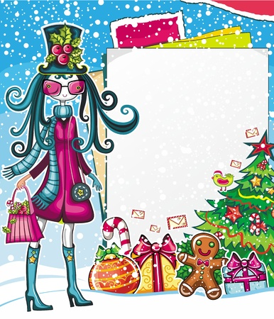 Christmas shopping theme: vector illustration of a pretty girl with shopping bag, standing near the blank message board. lots of Xmas decorations ornaments, patterns. space for your text.  Vector