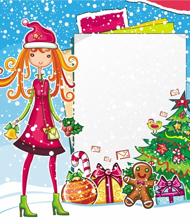 happy shopper: Christmas shopping theme: vector illustration of a pretty girl with shopping bag, standing near the blank message board. lots of Xmas decorations ornaments, patterns. space for your text.