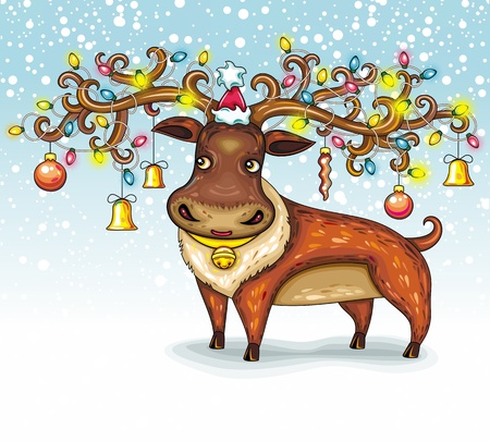 Christmas Deer. funny character animal Vector