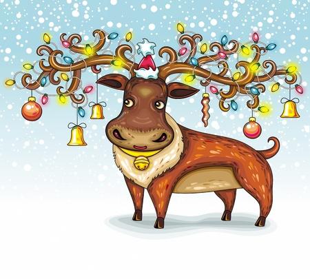 north pole: Christmas Deer. funny character animal