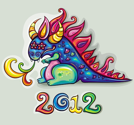 Oriental  New Year theme: Cute, fabulous, magical, blue and funny dragon, spinning rainbow magic fire.  Star eyes Vector