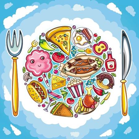Colorful planet of cute food Иллюстрация