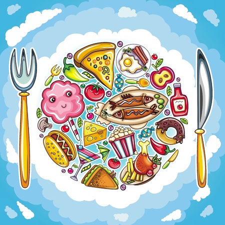 cotton cloud:  Colorful planet of cute food Illustration
