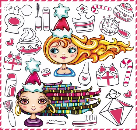 Christmas shopping theme: vector illustration of a pretty girls with beautiful hair and lots of Christmas presents for ladies Stock Vector - 11157712