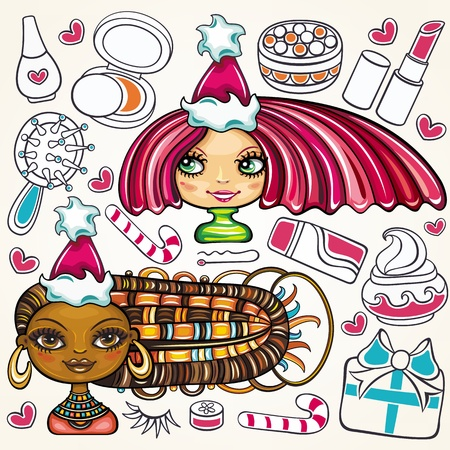 Christmas shopping theme: vector illustration of a pretty girls with beautiful hair and lots of Christmas presents for ladies  Vector