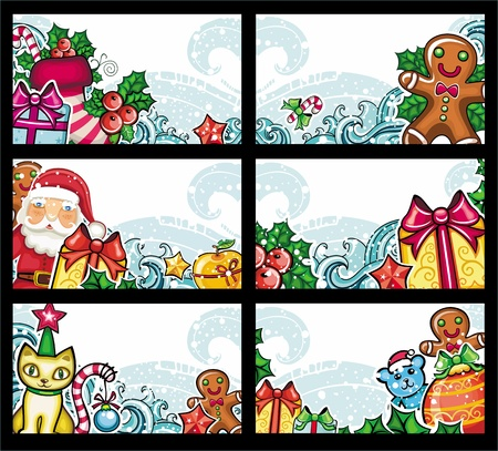 Colorful Christmas cards series Vector