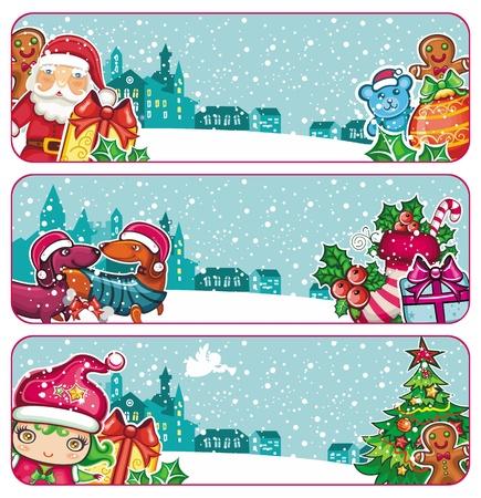 Colorful Christmas banners  Иллюстрация