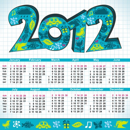 2012 New Year cartoon calendar with cute 3d letters  Vector