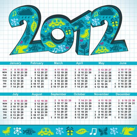 cartoon calendar: 2012 New Year cartoon calendar with cute 3d letters  Illustration