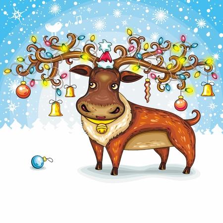 Christmas Card. North Deer, wearing Santa cap Stock Vector - 11300102