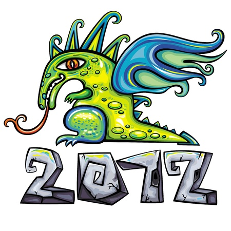 Dragon, Chinese New Year symbol 2012. Vector