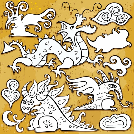 Dragons, Chinese New Year symbols 2012. Vector set of sketchy, doodle dragons and decorative design elements.  Vector