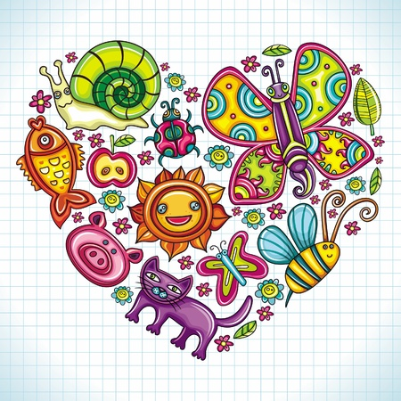 Flora and fauna theme heart. Cartoon set of colorful icons of animals, birds and plants. Doodle collection contains: leafs, , pigeon, bumblebee, , goldfish, ladybug, butterfly, kitten, apple  Vector