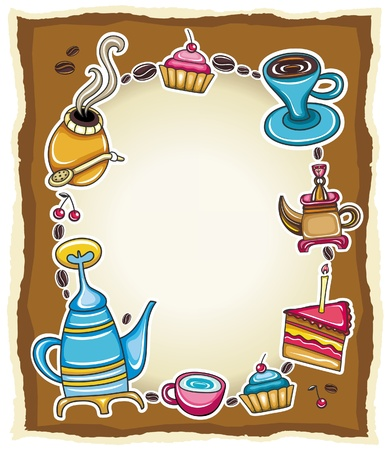 Grunge torn paper frame with coffee, tea, cake, yerba mate symbols Vector