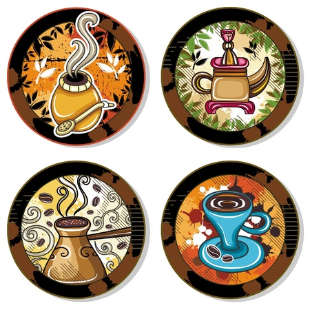 Grunge collection of drink coasters - coffee, tea, yerba mate theme, isolated on white background 4  Illustration