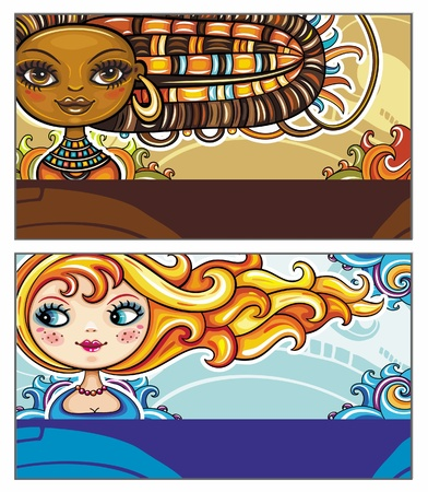 Set of colorful decorative business cards featuring attractive girls with stylish hair styles. Space for your information. Vector