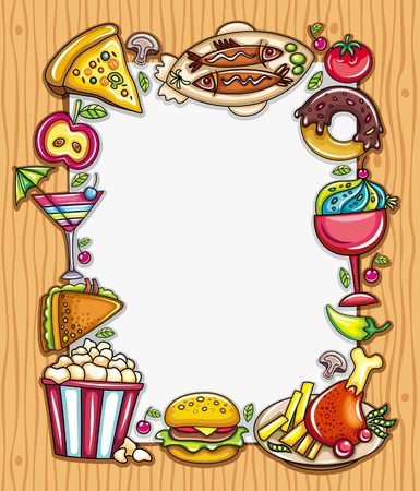 Colorful frame with white space for you text or menu featuring various popular foods on wooden background