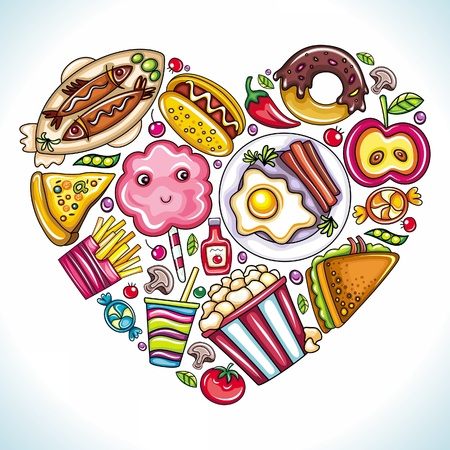 cotton candy: I love to Eat. Vector illustration of cute heart made of different types of delicious food