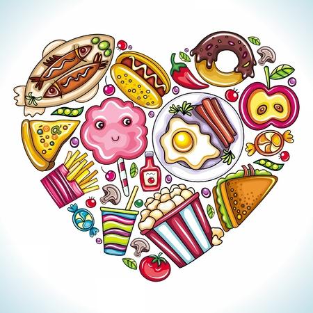 candy cotton: Me encanta comer. Ilustraci�n vectorial de coraz�n lindo hecho de diferentes tipos de comida deliciosa