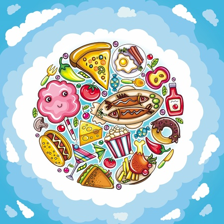 Delicious planet of cute food Vector