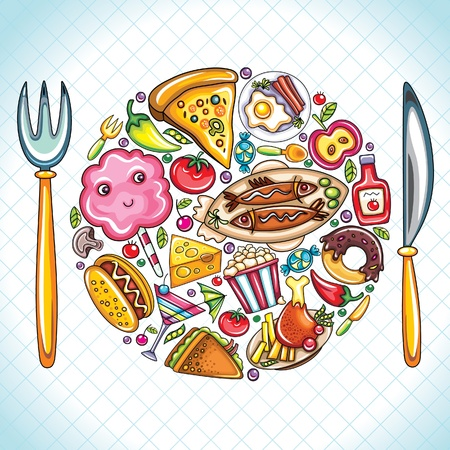 plate of food: Beautiful illustration featuring colorful popular food shaped as plate with a fork and knife