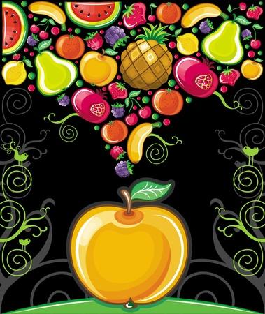 fresh fruit: Apple splash ( fruit series)  Illustration