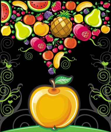 tropical fruit: Apple splash ( fruit series)  Illustration