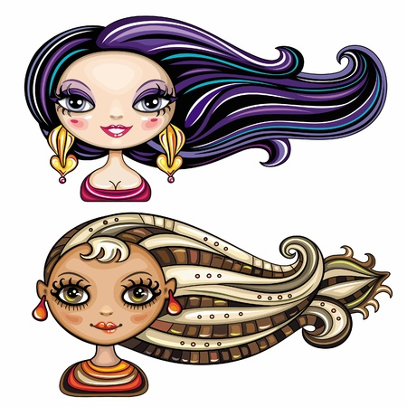 cartoon hairdresser: Beautiful girls with cool hair styles 3