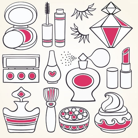 blush: Vector make up, beauty and fashion supplies icons  Illustration