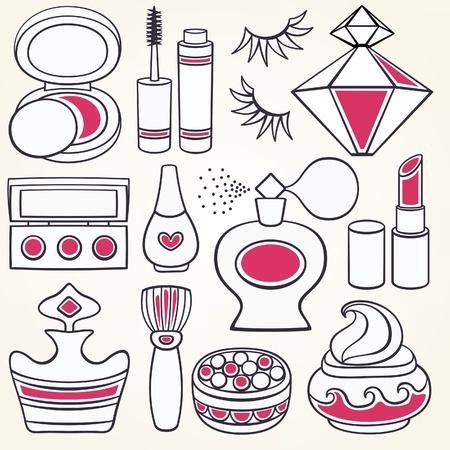 make up brush: Vector maquillaje, belleza y moda suministros iconos Vectores