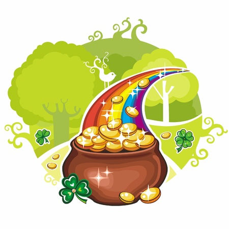 A pot of gold on Saint Patrick Vector