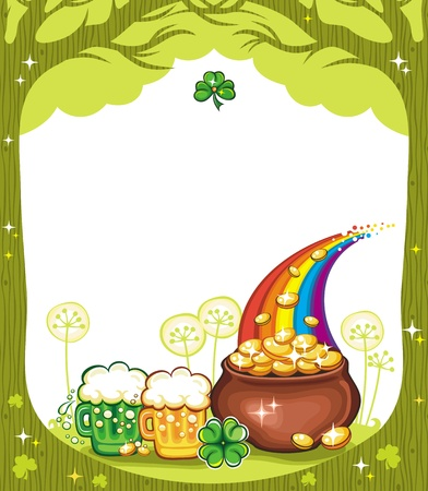 St. Patricks Day frame with trees, pot of gold, beer mugs, clover.  Vector